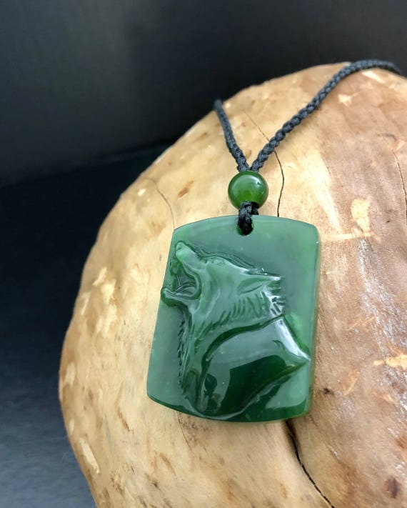 Canadian Nephrite Jade Wolf Pendant - Jade Necklace - Green Jade - Natural  Jade