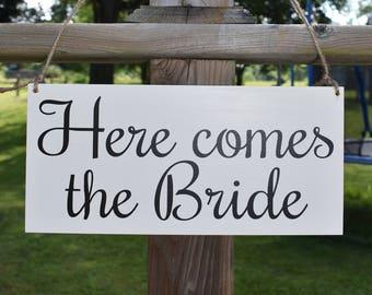 Here Comes The Bride Sign, Wedding Sign, Flower Girl Sign, Ring Bearer Sign