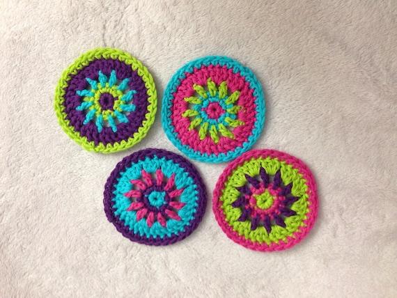 Colorful Circle Coaster Crochet Pattern Crochet Coaster Set Etsy