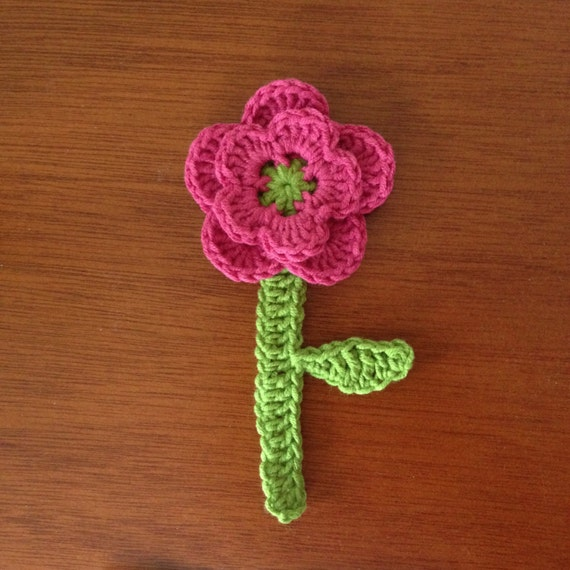 Crochet Flower Pattern Tutorial Two Layer Flower With Stem Etsy