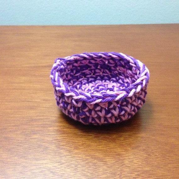 Small Crochet Bowl Pattern Tutorial Pink And Purple Crochet Etsy