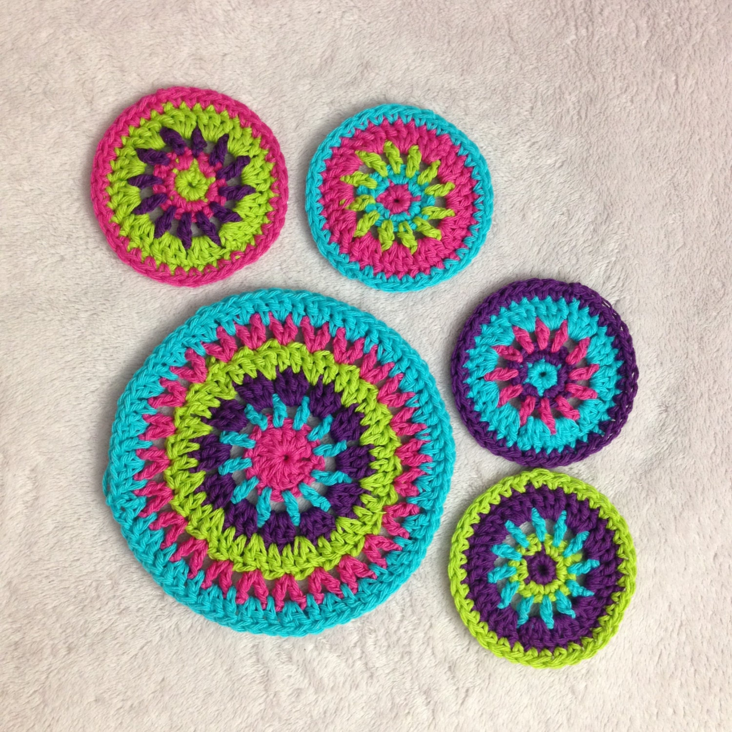 Colorful Circle Coasters And Potholder Crochet Pattern Etsy