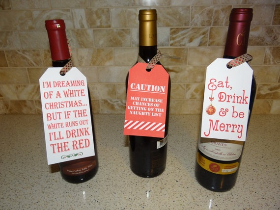 3 Christmas Wine Bottle Tags Etsy