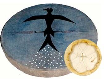 Grosse Schamanentrommel Ziegen Leder Rahmentrommel 50cm mit Schlägel Ritual Neu