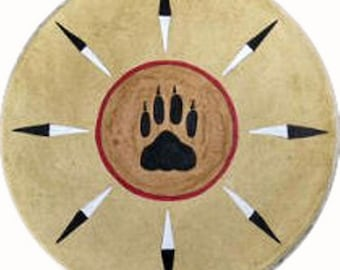 Native American Shaman Drum excellent sound - Sun Paw covered with Buffalo rawhide I Thunderdrum