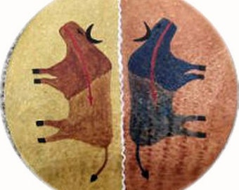 Native American Shaman Drum excellent sound - Buffalo covered with Buffalo rawhide vision Thunderdrum