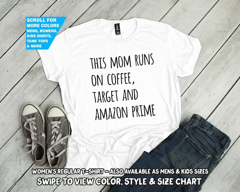 c41ef2d71 This Mom Runs On Coffee Target And Amazon Prime Shirt funny | Etsy