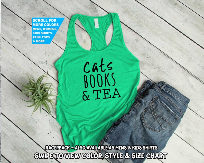 757ea11a0 Cats Books And Tea Shirt Crazy Cat Lady Mom Book Lover Owner   Etsy