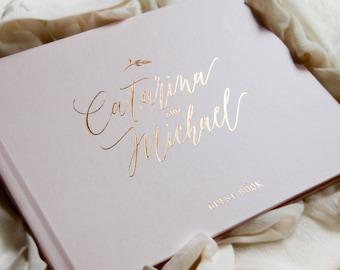 Wedding Guest Book Rose Gold Foil, Wedding Guestbook, Custom Guest Book, Personalized Guest Book, rose gold Wedding Guest Book, Photo Book