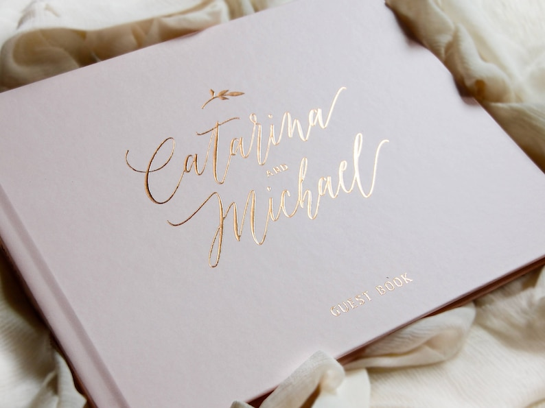 Wedding Guest Book Rose Gold Foil Wedding Guestbook Custom image 0