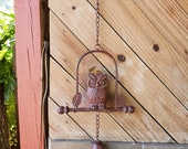 Vintage Cast Iron Owl Wind Chime Painted Metal Outdoor Decor