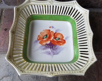 Vintage Aiyo Bowl Scalloped Reticulated Edge Made in Occupied Japan Hand Painted China