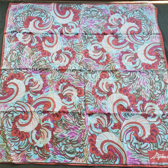 Stephen Burrows All Silk  Scarf Teal, Pink, Red, P
