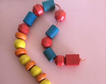Colorful Vintage Large Wood Beads Mobile/Toy
