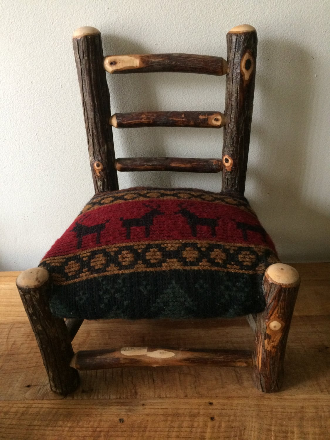 Small Upholstered Rustic Log Chair - Cabin Decor