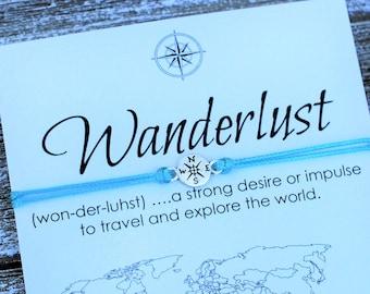 Wanderlust Bracelet Travel Gift for Men Friendship Bracelet Wish Bracelet Compass Bracelet Inspirational Gift For Women Mens Bracelet