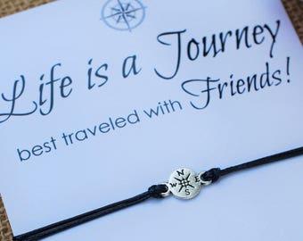 Wanderlust Friendship Bracelet Compass Bracelet Gift for Him Best Friend Bracelet Life is a Journey Bracelet Wishing Bracelet Travel Gift
