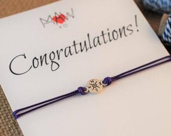 Graduation Gift Friendship Bracelet Compass Bracelet College Graduation Card Congratulations Card New Job Gift High School Graduation Gift