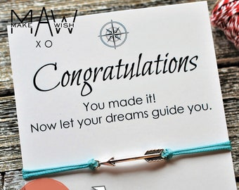 Graduation Gift College Graduation Gift High School Graduation Gift Graduate Gift Graduation Card Kindergarten Wish Bracelet Arrow Bracelet