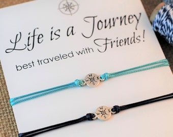 Inspirational Friendship Bracelet Wanderlust Compass Bracelet Personalized BFF Gift Best Friend Gift Life is a Journey Travel Gift for Women