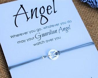 Guardian Angel Bracelet Sterling Silver Angel Faith Bracelet Communion Christening gift Faith Jewelry Inspirational Friendship Bracelet