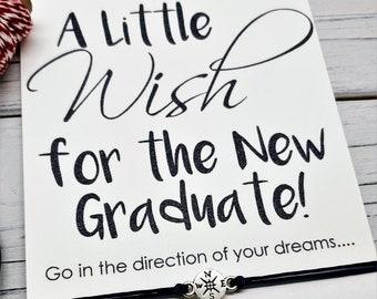 Graduation Gift Friendship Bracelet Inspirational Wish Bracelet Compass Bracelet Graduation Card College Graduation High School Graduation
