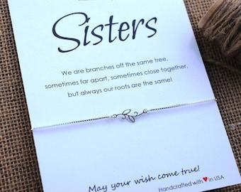 Inspirational Sister Bracelet Sterling Silver Branch Bracelet Gift for Sister Gift Family Tree Bracelet Personalized Friendship Bracelet