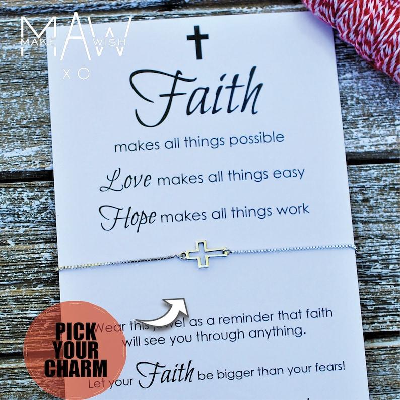Guardian Angel Cross Bracelet Gift Communion Gift Godmother Gift Faith Card Religious Graduation Gift Adjustable Closure Adjustable Bracelet