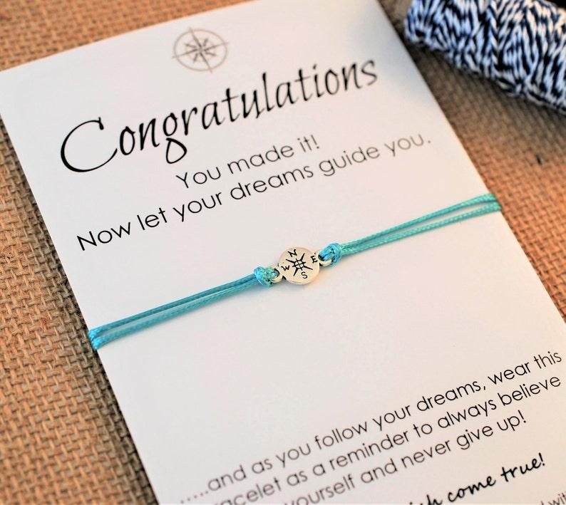 Graduation Gift Friendship Bracelet Inspirational Wish image 1