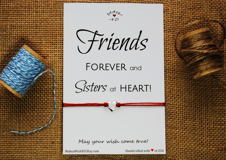 Best Friend Gift Friendship Bracelet Sterling Silver Heart Bracelet Best Friend Bracelet Friends Forever and Sisters at Heart BFF Gift