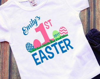Personalized Babies My 1st First Easter Bodysuit Chicken Egg Easter Shirt