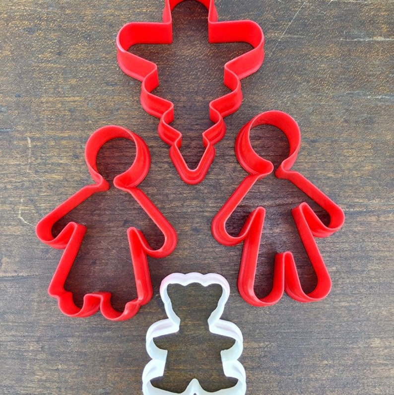 Vintage Christmas Cookie Cutters Christmas Tree Gingerbread Man Gingerbread Woman Teddy Bear Plastic Cookie Cutters