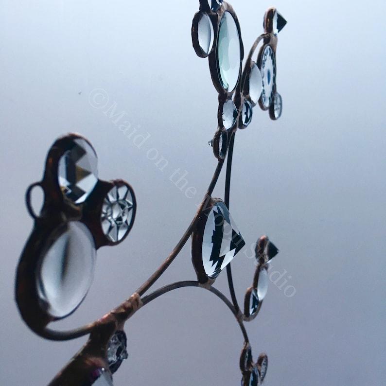 Repurposed Glass Hanging Flourish V Glass Suncatcher Upcycled
