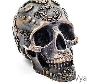 Demon Head, Skull Decor, Skull Art, Day Of The Dead Sugar Skull, skull sculpture, human skull replica, skulls, metal sculpture, human skulls