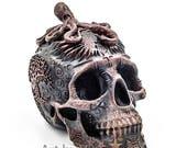 Skull Sculpture Skull Day of the dead cold cast iron sculpture human skull skull art art dia de los muertos skulls black skull skull