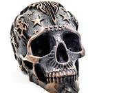 Human Skull art, Skull Gothic, Halloween, Skull Decor, metal sculpture, human skulls, human skull replica, sugar skull art, skull replica