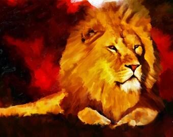 Lion print, Lion art, Lion wall art, Lion art print, Lion painting,Lion decor, Nursery decor, Animal print, Nursery wall art, Lion poster