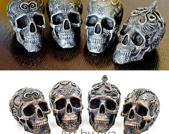 Set of 4 skull human skull sculpture skull art skulls iron sculpture black skull day of the dead skull figurine dia de los muertos skull