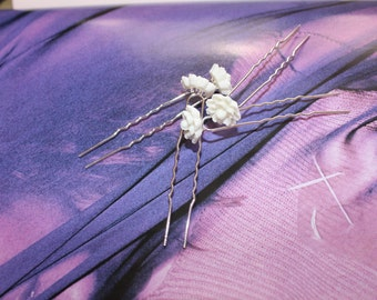 White Single Rose Hairpins for Bridal, Prom etc