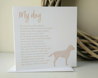 My Dog Poem Greeting Card Personalised Birthday Thank You Or Special Occasion For Owner Lover