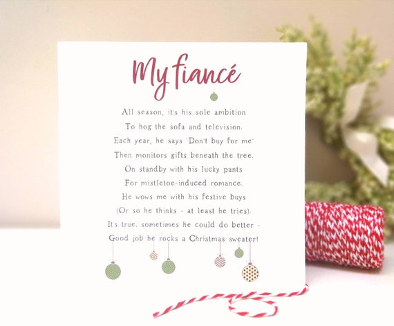 Christmas Poem.Personalised Fiance Christmas Poem Card By The Bespoke Bard Funny Christmas Poem Card For Husband To Be Boyfriend Partner