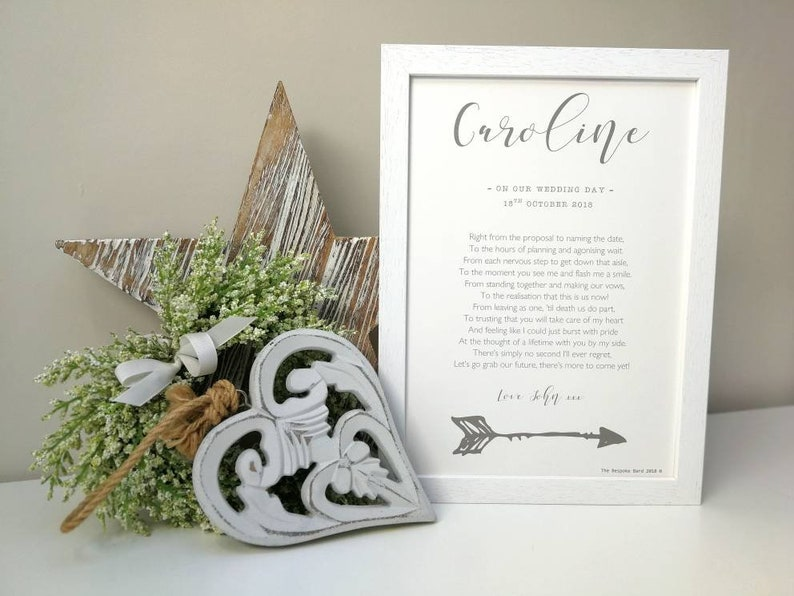 To my wife on our wedding day poem. Personalised poem