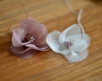 3 flowers made of silk organza