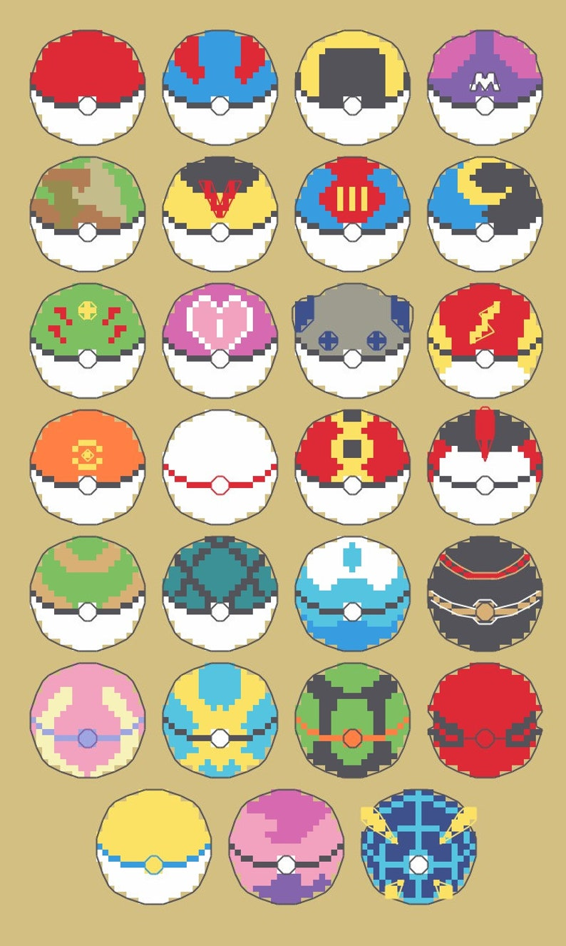 Pokeball Large Sampler PDF Cross Stitch Pattern!