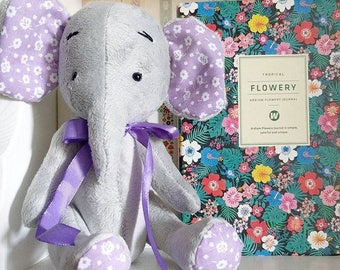 Grey plush stuffed elephant soft toy baby shower gift Christmas