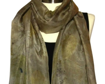Silk Scarf, Eco Print, Green Scarf, Scarves and Wraps, Scarves, Soft Scarf, Woman Scarves, Long Scarf, Art Scarf, Gift For Mom, Wearable Art