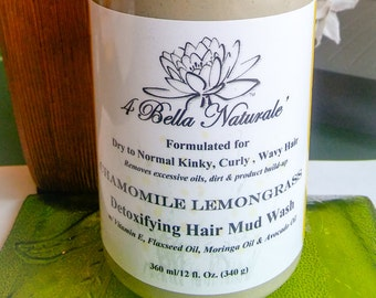 Detoxifying Hair  Mud Wash, Handcrafted, Natural Organic, Bentonite Clay, Slippery Elm, Moringa Oil, Flaxseed Oil-  12oz