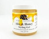Aloe Honey Styling Gel 8oz jar Handcrafted, Natural, Curl Definer, Organic Gel, Aloe Vera, Flaxseed, Hair Gel