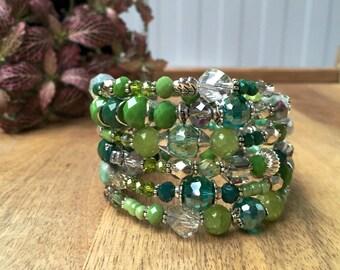 Crystal Boho Bracelet | Layered Bracelet | Beaded Bracelet | Green Boho Bracelet | Memory Wire Bracelet | Wrap Bracelet| Bridesmaid Bracelet