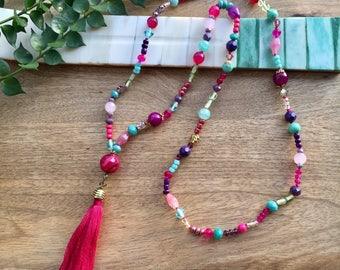 Boho Necklace Tassel Necklace Gemstone Necklace Fringe Necklace Long Beaded Necklace Hippie Necklace Colorful Necklace Boho Jewelry